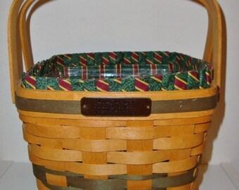Lovely Longaberger Green Cranberry Basket 3 pc set--HARD FIND--Vintage  15% off all 40 dollar and under vintage listings