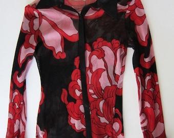 vintage VIVIENNE TAM designer nylon floral chrysanthemum Blouse Size 2