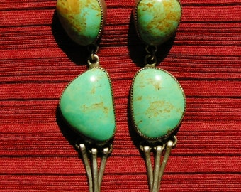 Long Chunky Navajo Sterling Silver Turquoise Dangle Earrings