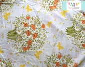 Full Vintage Fitted Sheet with Orange Flowers and Butterflies