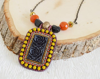 Black Flowers Bead Embroidery Necklace. OOAK. Day of the Dead. Dia de los Muertos. Frida Kahlo. Memento Mori. Handcrafted. Artisan Jewelry