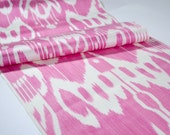 Pink, ikat, ikat table runner, ikat table cloth, ikat fabric by the yard, ikat fabric, pink ikat, pink, hand woven, pink white, upholstery