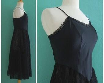 80's black lace slip dress ~ small medium
