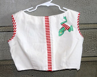 Vintage 1970s Girl's Crop Top. Jumping Frog Design w Red Accents. Made by Ruth of Carolina- by Ruth Originals. Approximately Size 8-10