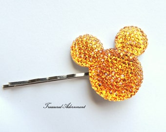 Mickey Mouse Hair pin, Orange Mickey Mouse, Pave style Resin Rhinestone, Halloween Hair clip, Gift Under 5,  Bobby pin, Halloween Disney