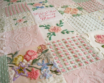 """Custom Ordered Personalized Vintage Chenille Baby Quilt - """"Royalty"""" - Heirloom quality  bedding for your little one."""