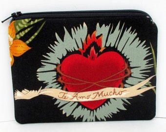 Small Zipper Pouch, Frida Heart of Love, Black Coin Purse, Te Amo Mucho
