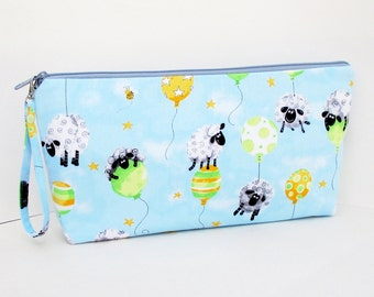 Knitting Project Bag, Large Zipper Pouch, Sheep on Balloons, Baby Blue