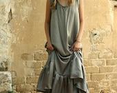 New Collection 2016! Grey maxi dress, pure silk evening dress, silk prom dress, bridesmaid dress
