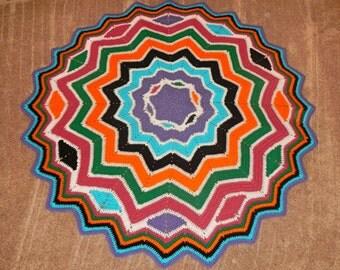 Lapghan or Baby Blanket or Sofa Accent Hand Crocheted Starburst Afghan Blanket Design