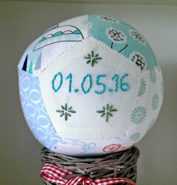 Unique Personalised Baby Gifts Ireland : Personalised unique handsewn patchwork baby ball for boy