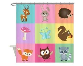 WOODLAND PASTEL PATCHWORK Kids' Shower Curtain - Great For Boys and Girls, Woodland Animals