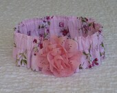 """Cherry Blossoms Dog Scrunchie Collar with eyelet flower - XL: 18"""" to 20"""" neck"""