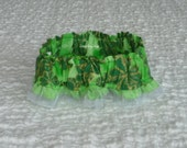 """Gold and Green Shamrocks Dog Scrunchie Collar with ribbon ruffle - S - 12"""" to 14"""" neck"""