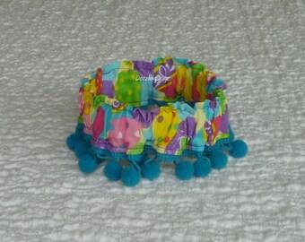 "Big Bright Easter Eggs Dog Scrunchie Collar with pom pom fringe - Size S - 12"" - 14"" neck"