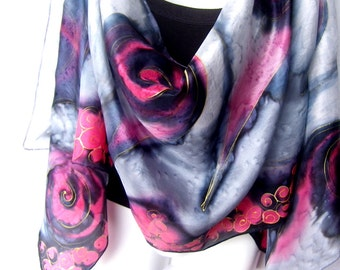 """Hand Painted Silk Scarf, Red Black Silver Gray, Abstract Swirls, Silk Scarf, 71"""" x 18"""", Gift For Her"""