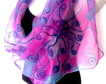 Hand Painted Silk Scarf, Aqua Blue Pink Medium Blue, Abstract Swirls, Silk Chiffon Scarf, Gift For Her, Gift Under 50
