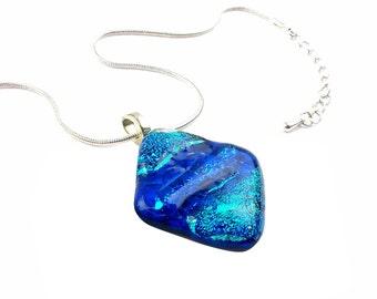 Pendant Necklace, Royal and Aqua Blue Dichroic Glass, Diamond Shape