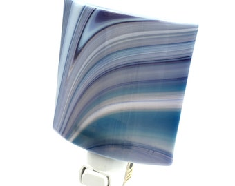 Night Light Plug In, Gray and Blue Art Glass Shade, Curves & Stripes
