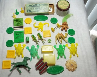 Junk Drawer Lot Destash, Vintage,Troll doll,horse,camel money figures,game pieces,Matches,Mendets box,enamel wearable Bird brooches