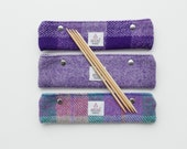 DPN holder in Harris Tweed, choice of purple tweeds, knitting needle storage, knitting accessory