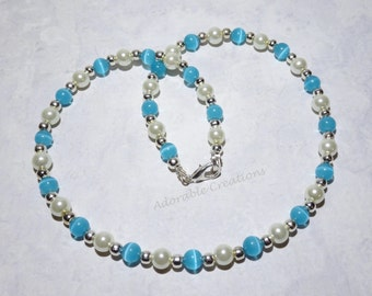Cats Eye & Pearl Necklace - U PICK Color - Child And Adult Sizes Available