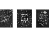 Chalk Art Set, Chalkboard Printable Set, Christmas Printable, Printable Set, Christmas Song Printable, Christmas Carol INSTANT DOWNLOAD