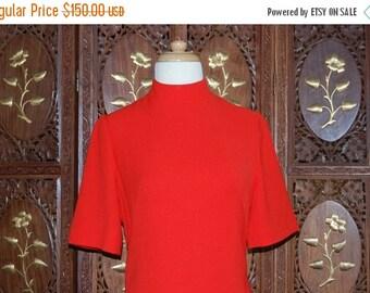 ON SALE Vintage 1960s CLARISSA Scarlet Wool ' Space Age' Mini Dress Sz 38