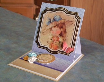 """Two Easel Note Cards - 4.50"""" x 4.25"""" - Sweet Little Girls, Thinking of You & With Love - Copper Foil Details"""