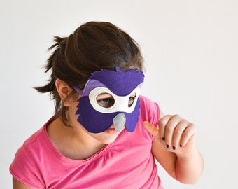 Parrot Mask, Kids Bird Mask, Kids Mask, Animal Mask, Purple Parrot Mask, Halloween Mask, Carnival Mask, Parrot Costume Accessory, Felt Mask