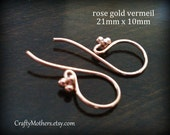 Use TAKE10 for 10% off! One Pair Bali ROSE Gold Vermeil 4 Ball Ear Wires (2 pcs), 21mm x 10mm, Artisan-made jewelry, precious metals