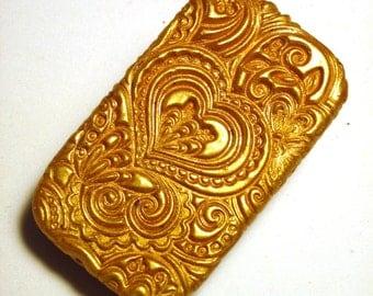 Metal Pill Box Gold Tone Hearts Pattern Great Handmade Gift Flat Slide Top Pill Box FREE Velvet Gift Pouch Purse Accessory Wedding Ring Box