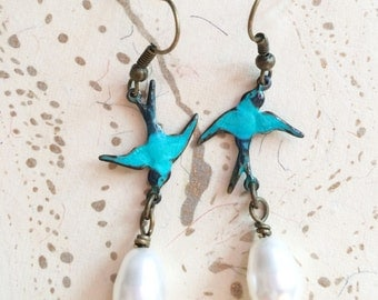 Bird Earrings Teal Pearl Bridal Patina by MinouBazaar