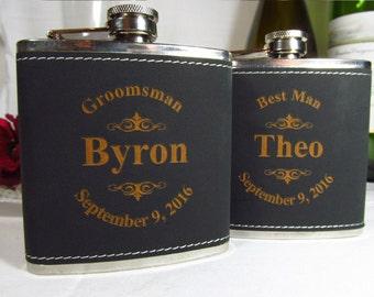 7 Personalized Leather Flasks Groomsman Best Man Father of the Bride Engraved Wedding Gift Keepsake Favor Black Logo Leather