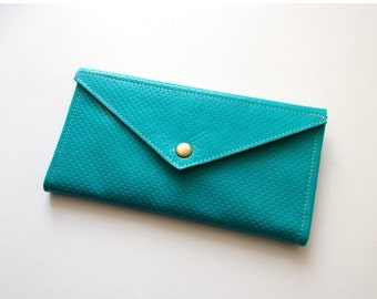 ON SALE Envelope  wallet , leather  women wallet - Turquoise