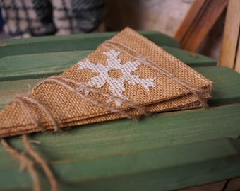 Snowflake pennant banner, burlap banner, christmas flags, burlap snowflakes, winter decor, chirstmas decoration, gifts for the home,