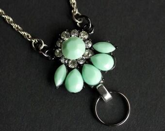 Mint Green Lanyard. Badge Necklace. Silver Badge Holder. Rhinestone Lanyard. Id Lanyard. Mint Green Badge Lanyard. Handmade Lanyard.