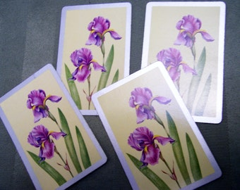 4 Vintage Playing Cards purple iris flower swap cards