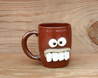 Funky Coffee Cup. High Strung Face Mugs. Cinnamon Spice Red. Handcrafted Coffee Cup. Unique Gift Ideas for Coffee Drinkers.