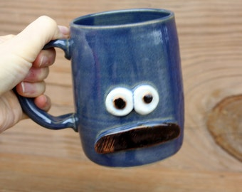 Traditional Mans Mustache Mug. Blue Coffee Cup.  Large 16 Oz Stoneware Pottery Face Mug. Bushy Mustaches for Him. Guy Father Husband Gifts.