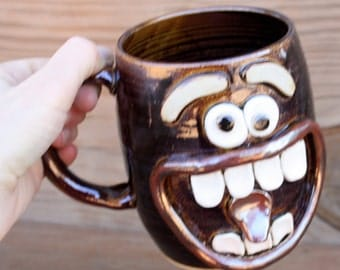 Large Beer Mug Chocolate. Giant Happy Big Smiley Face Coffee Cup. Extra Large 24 Ounce Ceramic Mug. Funny Unique Man Husband Boyfriend Gift