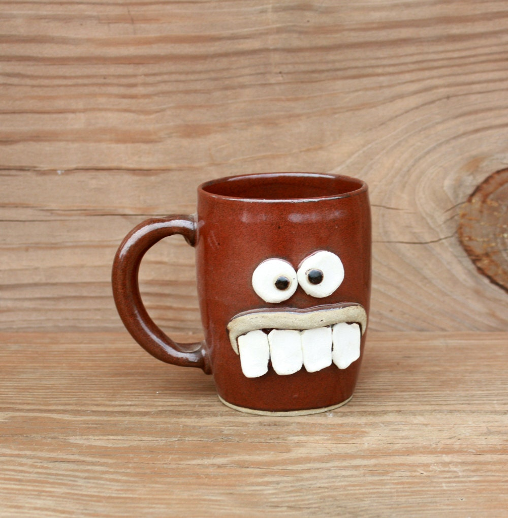 Funky coffee cup high strung face mugs cinnamon spice red - Funky espresso cups ...