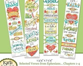 40% OFF NEW! Eph 1-4 Full Color Bookmarks  Bible Journaling Illustrated Faith INSTANT Download Scripture Digital Printable Christian Religio