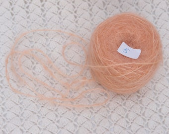 combed Mohair yarn Hand dyed peach color - waldorf doll hair and knitting crochet crafts. LaFiabaRussa La Fiaba Russa