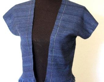 Handwoven Wool Vest. Blue hand spun, hand dyed