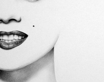 Marilyn Monroe Pencil Drawing Fine Art Portrait Signed Print