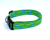 Goofy Green Gator Lime Green Alligators on Bright Blue Dog Collar