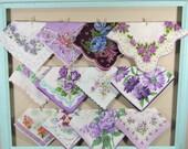 Purple Vintage Flower Hankies / Colorful Flower Hankerchiefs / Landies Hankies