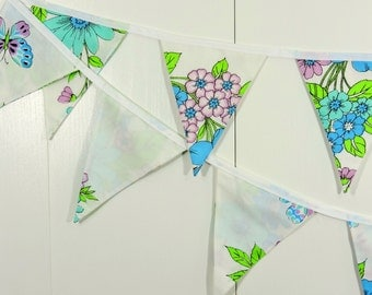 Aqua Purple Flower Bunting Flags / Baby Bunting Flags / Flower Pennant Flags