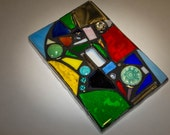 STAINED GLASS MOSAIC Light Switch Cover - Rainbow Mix - Made to order